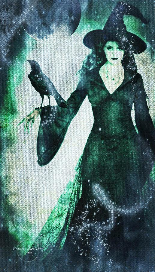 Witch Digital Art - The Midnight Garden Witch by Absinthe Art By Michelle LeAnn Scott
