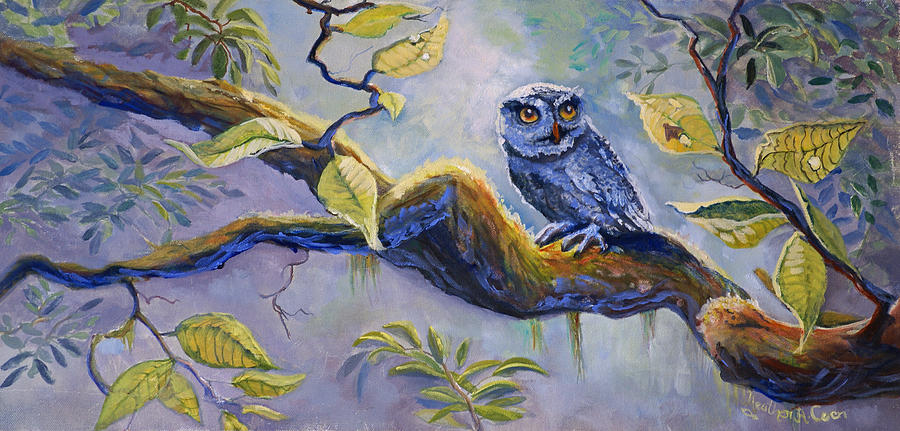 Birds Painting - The Midnight Snack by Heather Coen