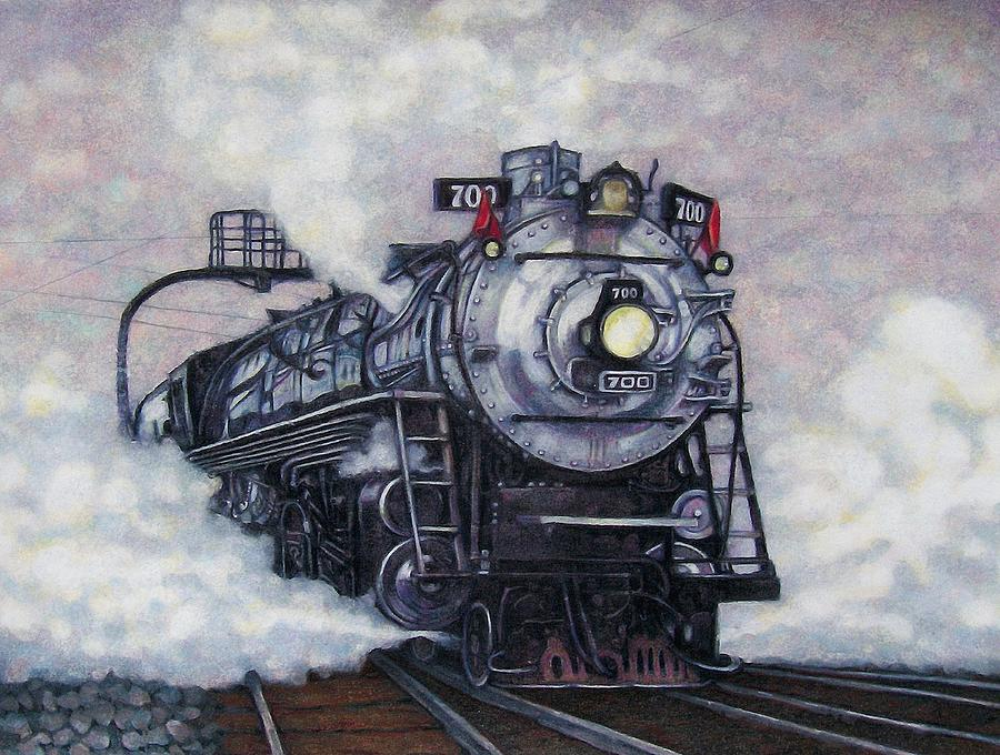 Train Drawing - The Mighty Brooklyn 700 by Edward Ruth