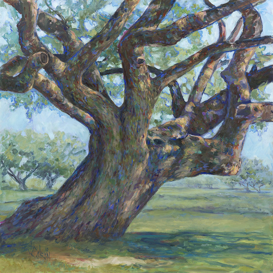Live Oak Tree Painting - The Mighty Oak by Billie Colson