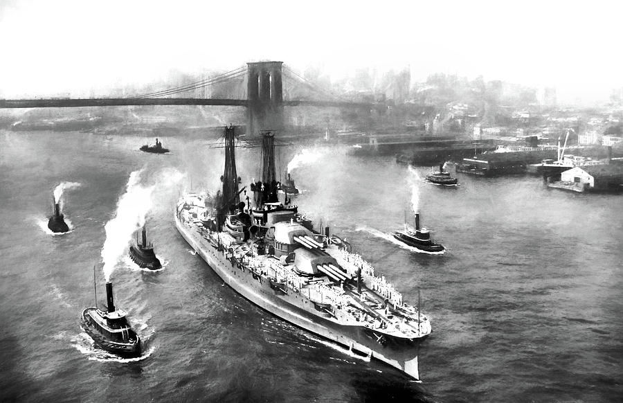 Battleship Photograph - The Mighty Pennsylvania Sailing From New York City by JC Findley