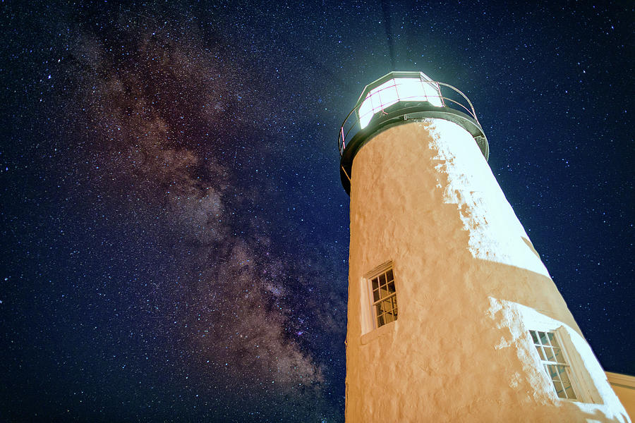 Pemaquid Point Lighthouse Photograph - The Milky Way Over Pemaquid Point by Rick Berk