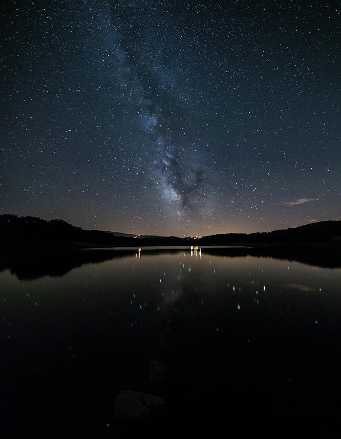 Galicia Photograph - The Milky Way Over The Minho River by Luis Vilanova