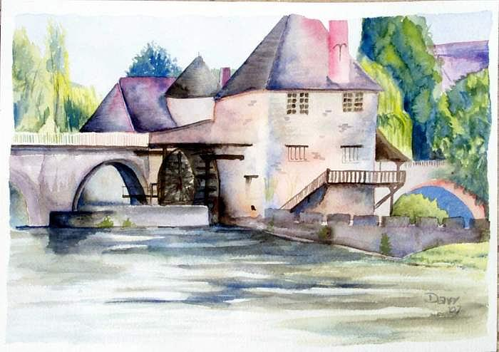 Watercolor Painting - The Mill At Moret-sur-Loing by Darr Sandberg
