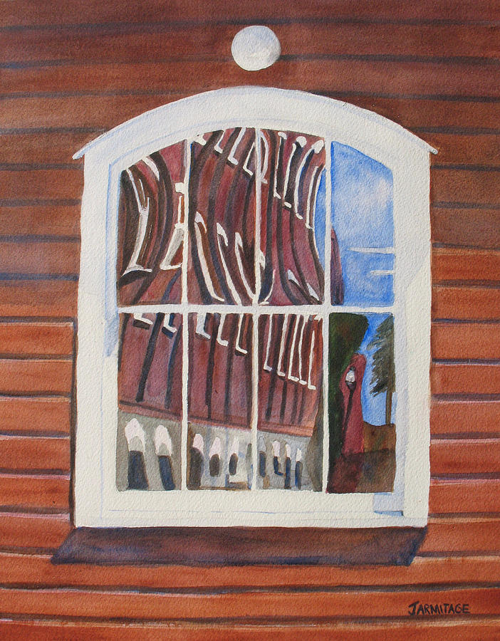 Window Painting - The Mill House Reflects Upon Itself by Jenny Armitage
