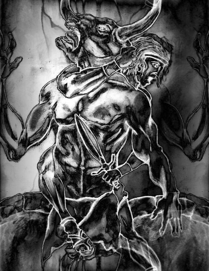 Mythology Painting - The Minotaur by Nick Stevens