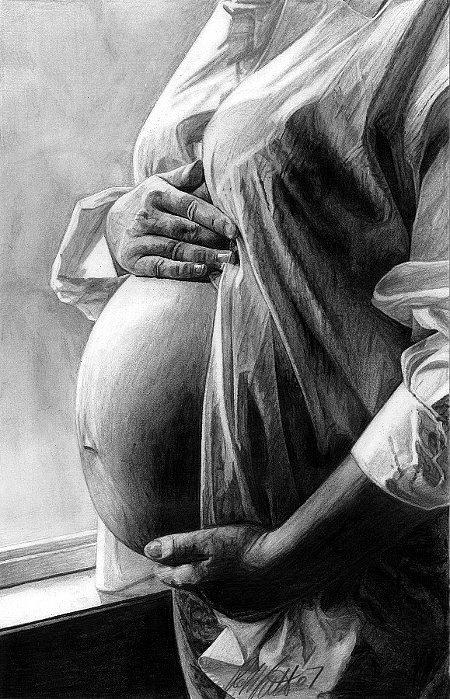 Pregnant Drawing - The Miracle by Robb Scott