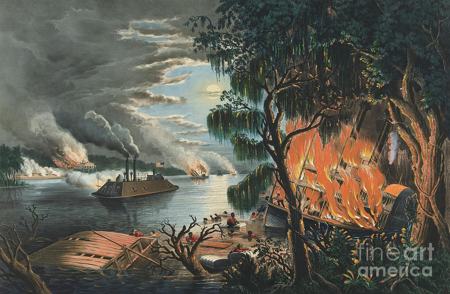 Civil War Painting - The Mississippi In Time Of War, 1865  by Currier and Ives