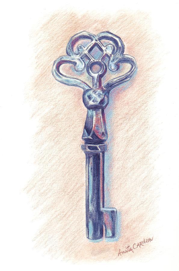 Skeleton Key Painting - The Mistress Key by Anita Carden