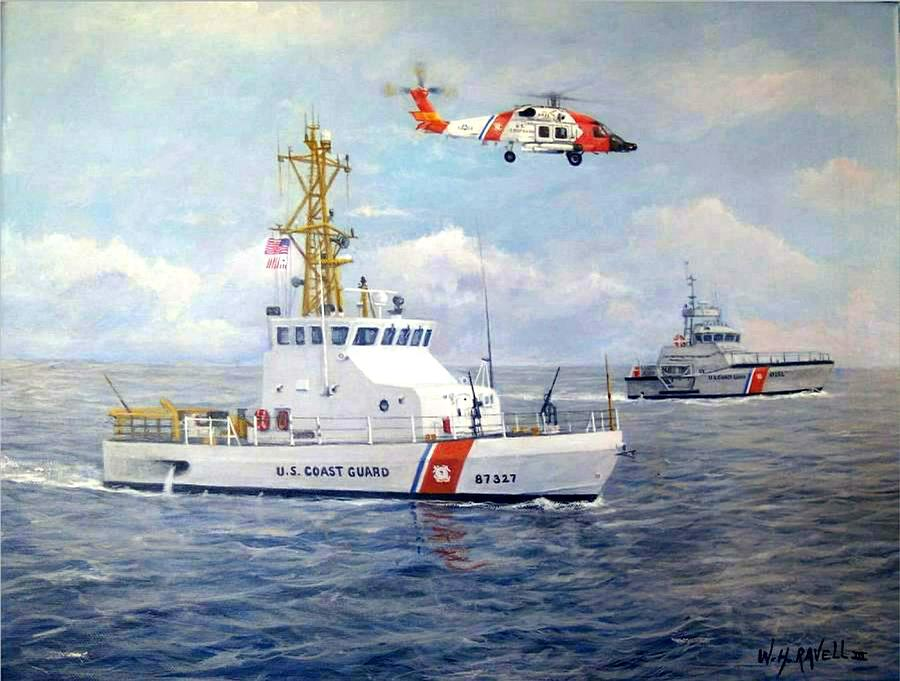 Ships Painting - The Modern U. S. Coast Guard by William H RaVell III