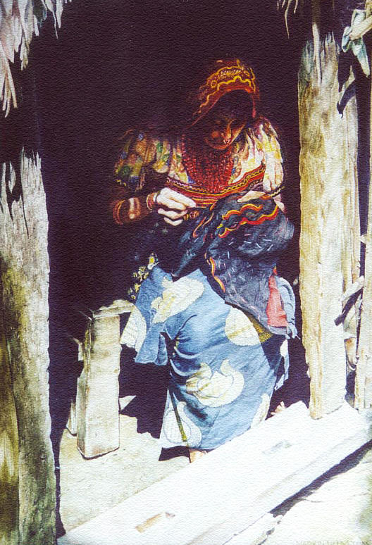 Indian Painting - The Mola Maker by Marion  Hylton