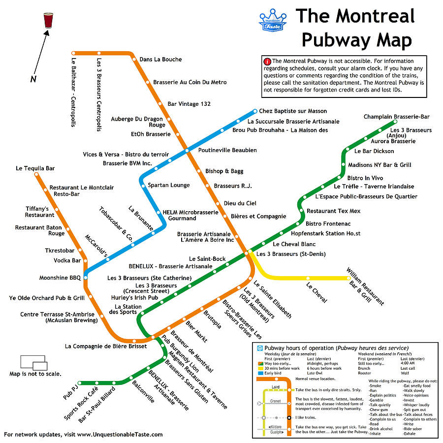 Beer Digital Art - The Montreal Pubway Map by Unquestionable Taste