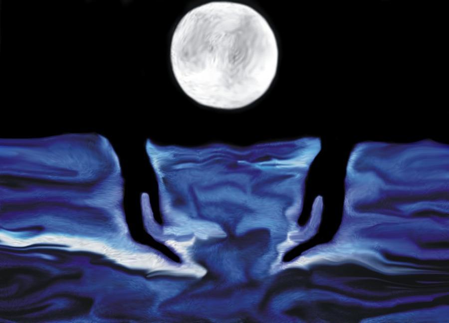 The Moon And I Digital Art by Marcelo Macedo Flores Macedo