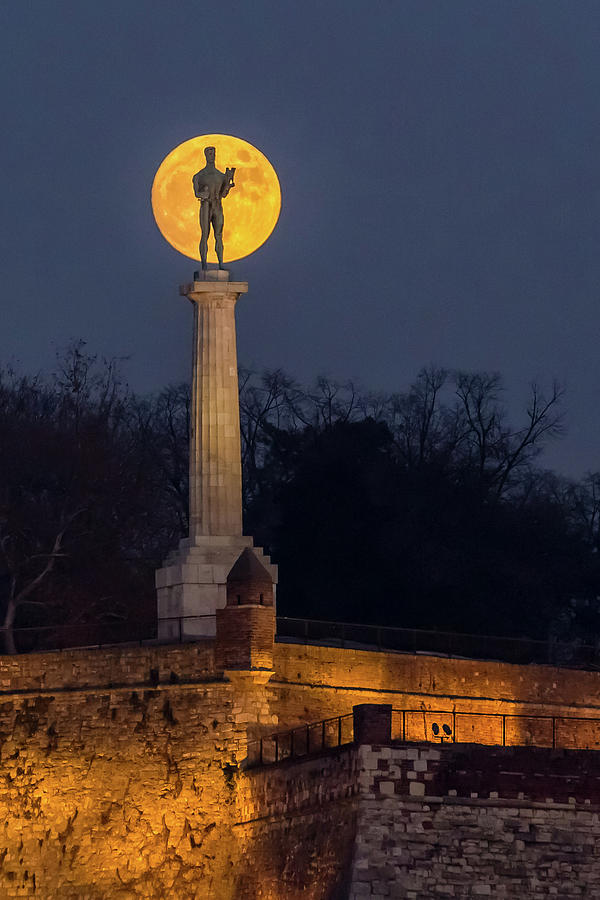 Moon Photograph - The Moon and The Victor in Belgrade by Dejan Kostic