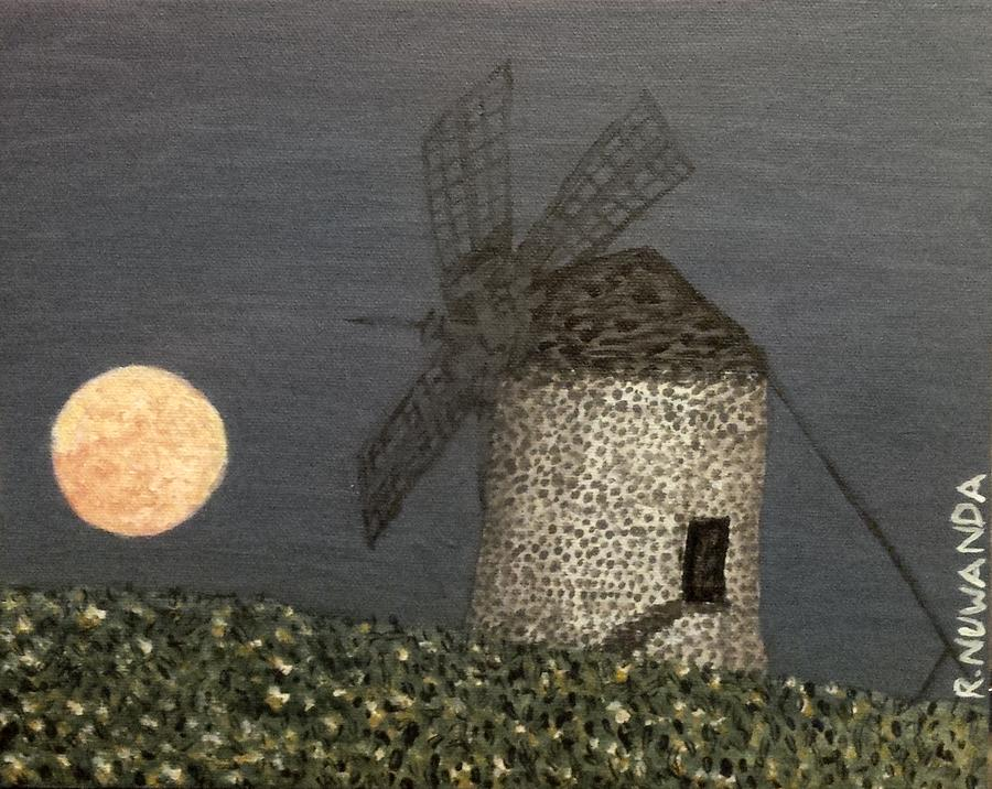 Moon Painting - The Moon And The Windmill by Robbie Potter