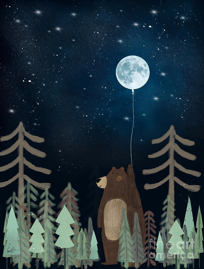 the moon balloon painting by bri buckley