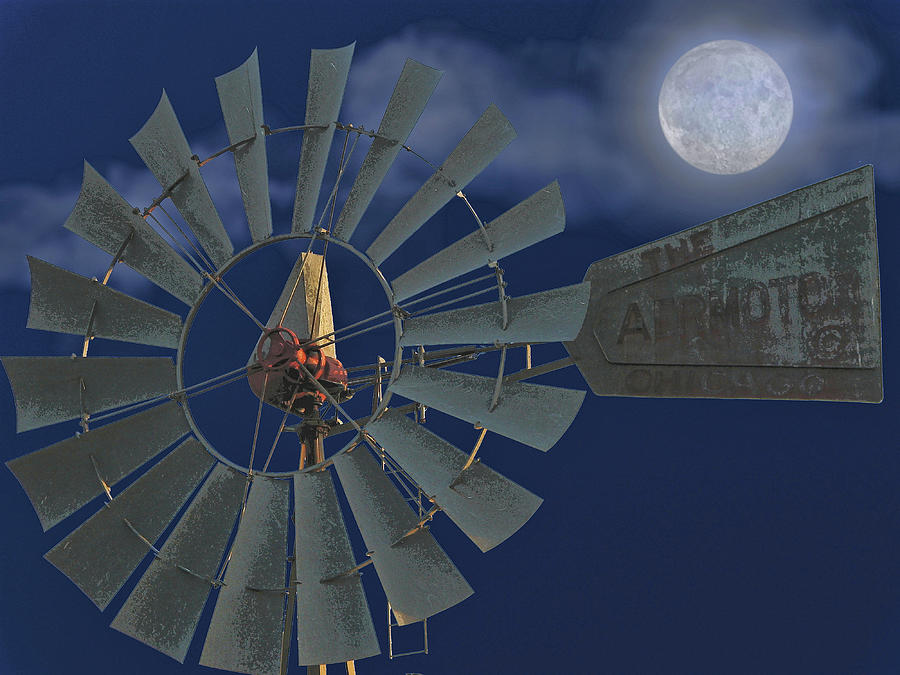 Windmill Digital Art - The Moon Spinner by Wendy J St Christopher