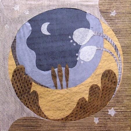 Paper Mixed Media - The Moon by Tomoko  Hirano