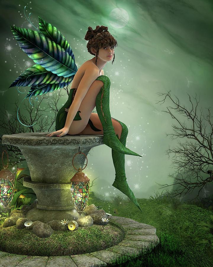 Fairy Digital Art - The Moonlight Fairy by Jayne Wilson