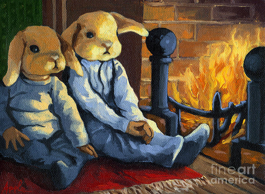 Rabbits Painting - The Mopsy Twins  by Linda Apple