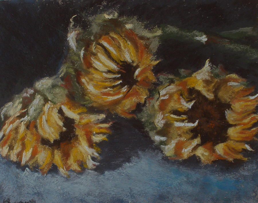 Sunflowers Pastel - The Morning After by Sarah Bernhardt