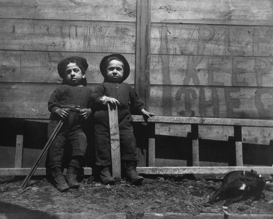 The Mott Street Boys Keep Off The Grass By Jacob Riis Painting By