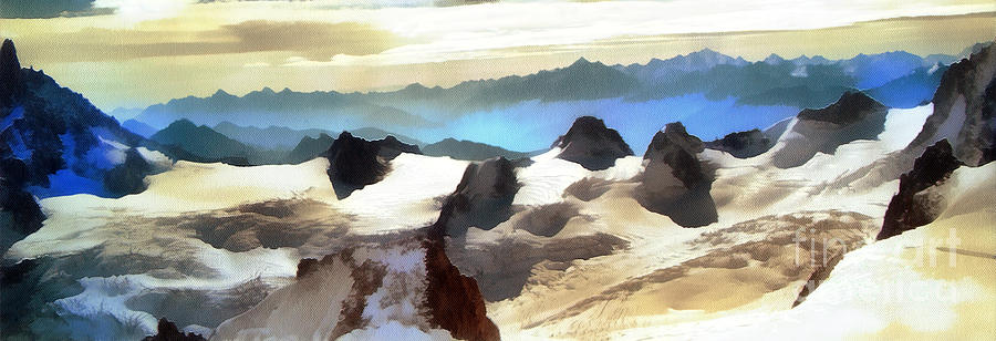 Postcard Painting - The Mountain Paint by Odon Czintos