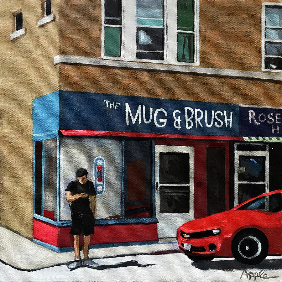 Barbershop Painting - The Mug And Brush - Urban Painting by Linda Apple