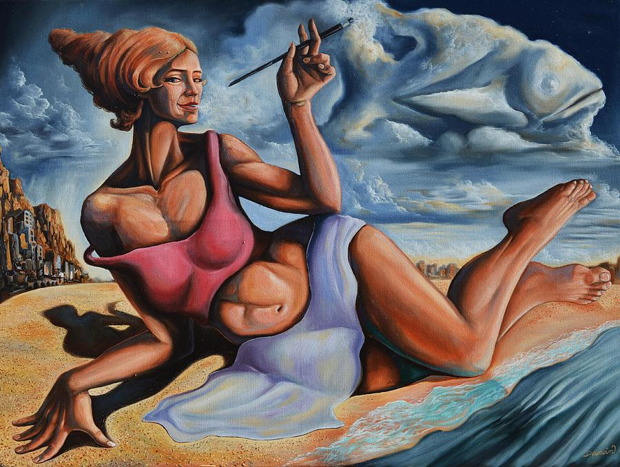 Surrealism Painting - The muse from the shore of dreams by Darwin Leon