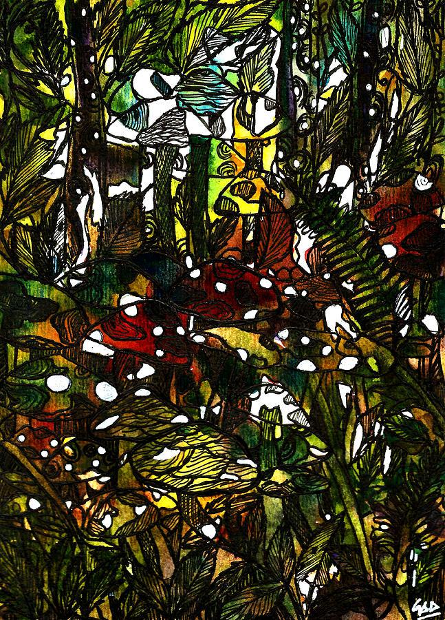 Botanical Illustration Painting - The Mushroom Village by Garima Srivastava