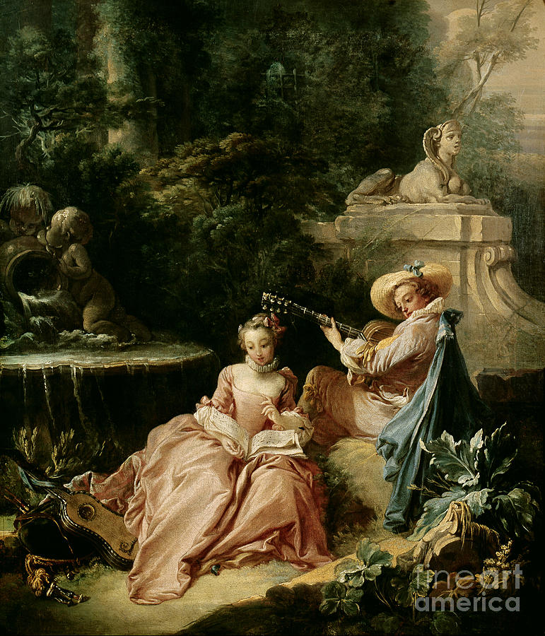 The Painting - The Music Lesson by Francois Boucher