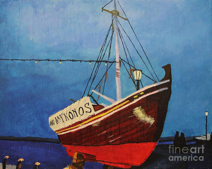 Mykonos Painting - The Mykonos Boat by Marina McLain