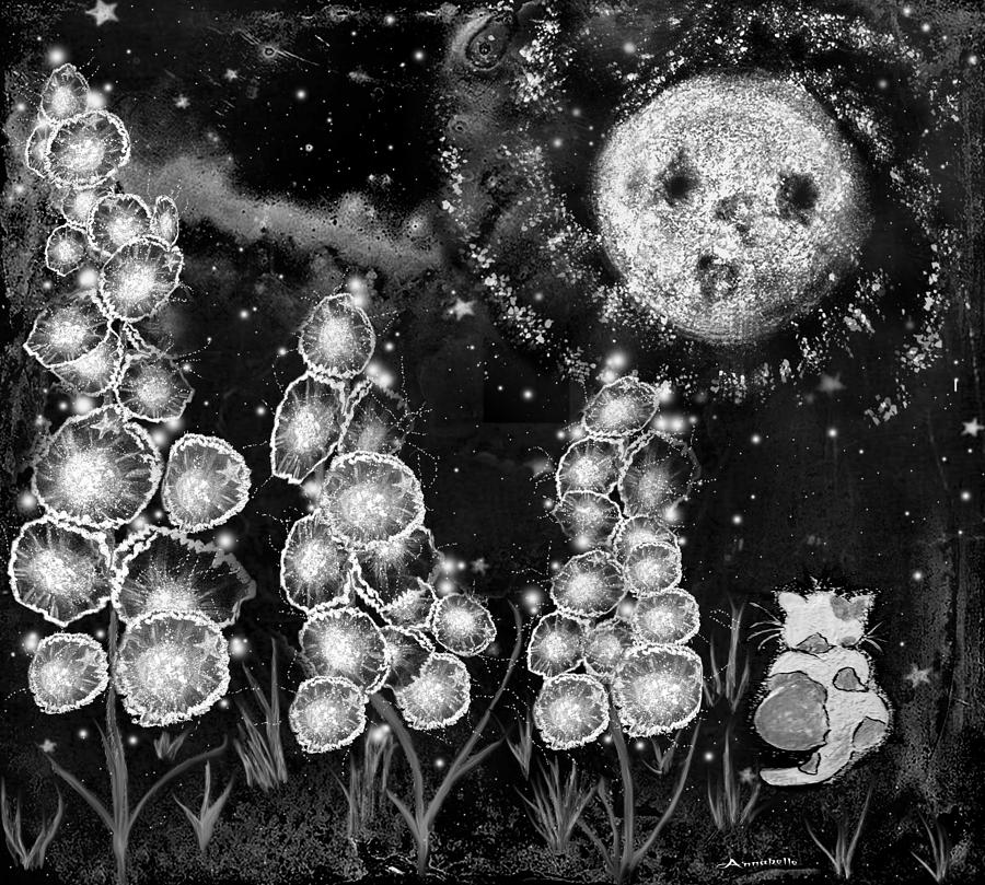 Black And White Digital Art - The Mysterious Garden by Anna Belanger