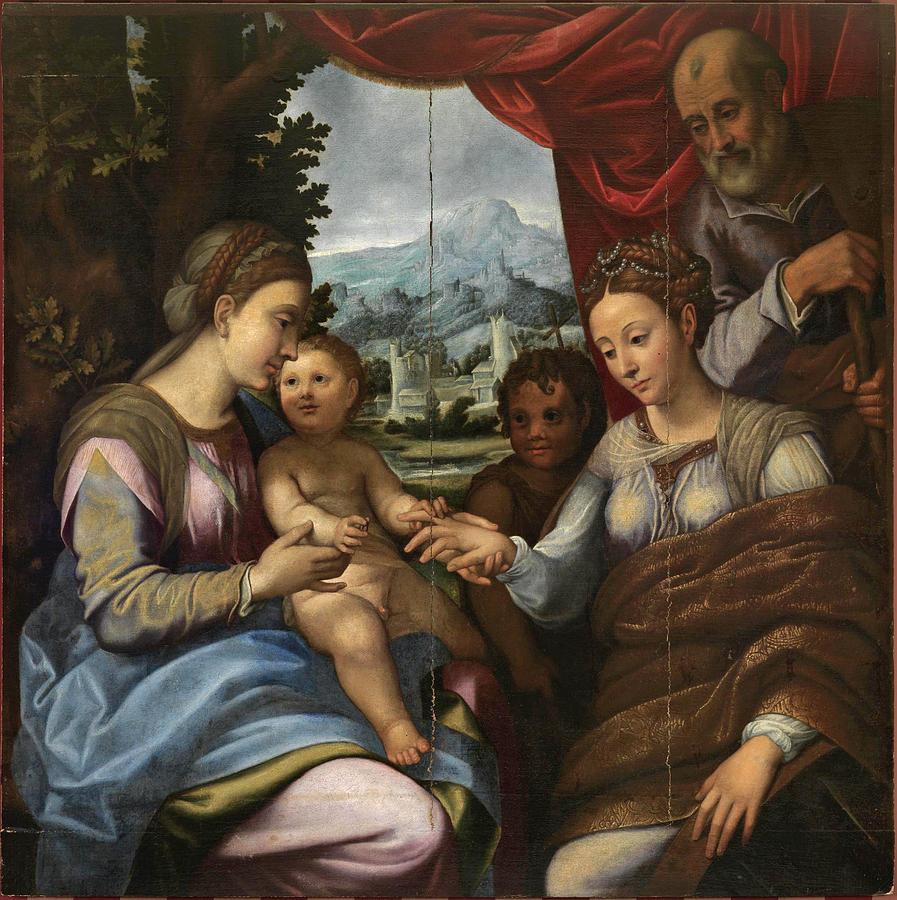 Gatti Painting - The Mystic Marriage Of Saint Catherine by Attributed to Bernardino Gatti