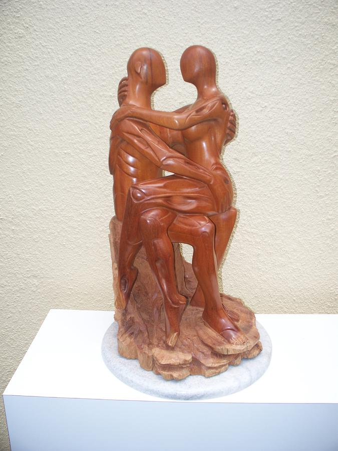 Wood Sculpture - The Nap by Eraisy Perez