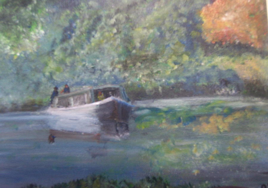Narrow Boat Painting - the narrow boat in England  by Richard Finnell