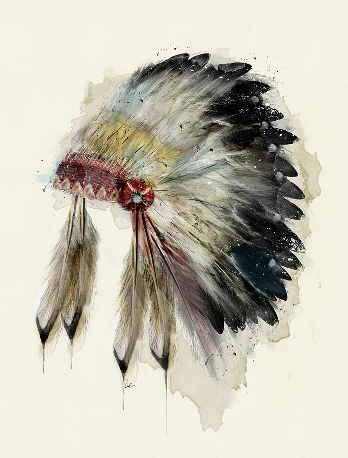Native Headdress Painting - The Native Headdress by Bri Buckley