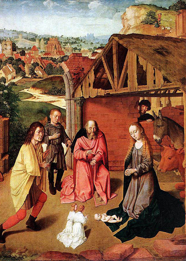Nativity Painting - The Nativity By Gerard David  by Munir Alawi