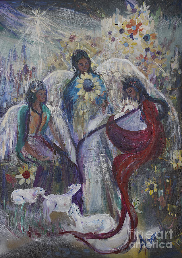 Christmas Cards Painting - The Nativity Of The Angels by Avonelle Kelsey