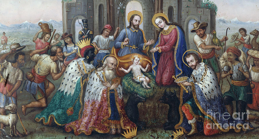 Jesus Painting - The Nativity With The Adoration Of The Magi And Shepherds, An Andean Landscape Beyond  by Peruvian School