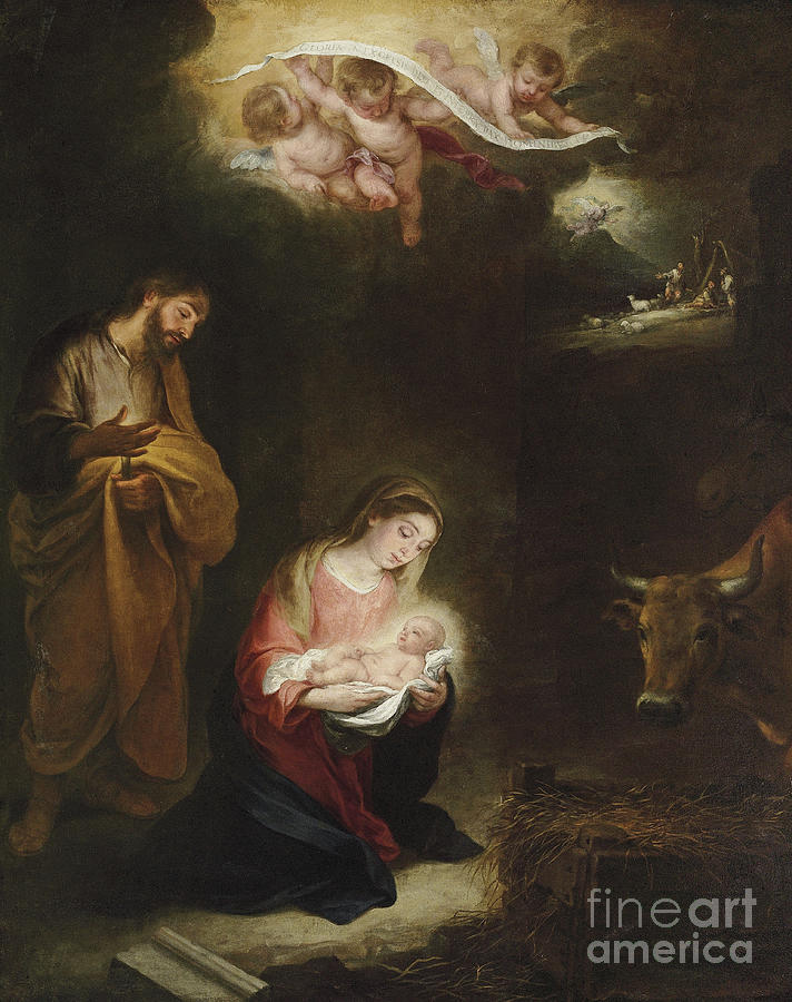 Murillo Painting - The Nativity with the Annunciation to the Shepherds Beyond by Bartolome Esteban Murillo