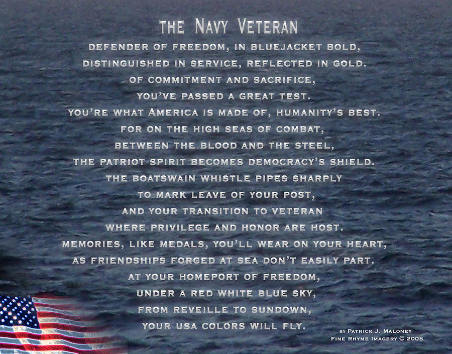 Poetry Mixed Media - The Navy Veteran by Patrick J Maloney