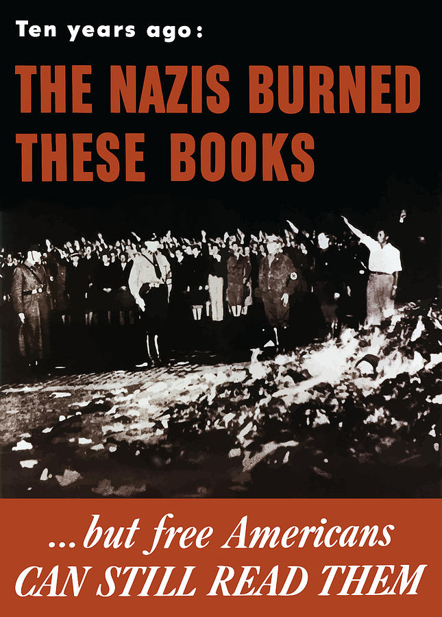 Free Speech Painting - The Nazis Burned These Books by War Is Hell Store
