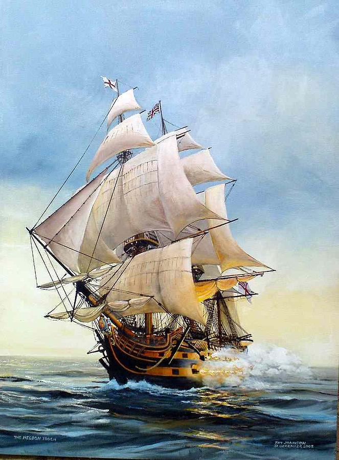 Hms Victory Painting - The Nelson Touch by Tim Johnson