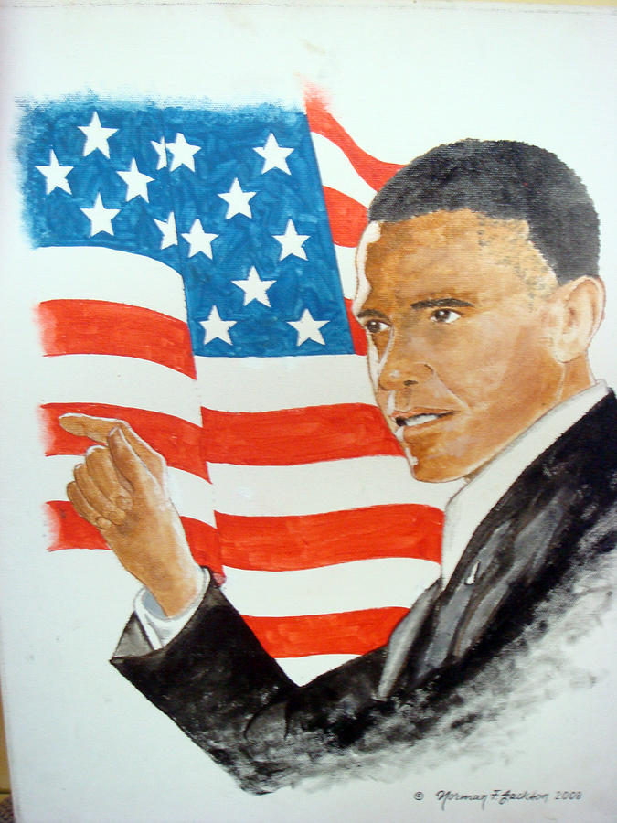 Obama Painting - The New America by Norman F Jackson