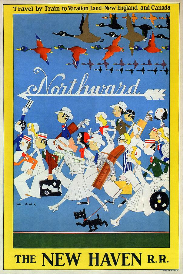 The New Haven Rail Road - Vintage Illustrated Poster - People Travelling Northward - Migrating Birds Painting