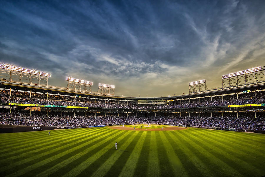 Chicago Cubs Photograph - The New Wrigley Field With Pretty Sunset Sky by Sven Brogren