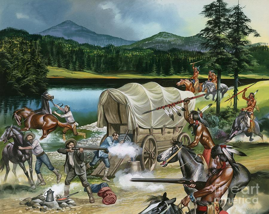 Indian; Red Man; Native American; America; Usa; Tribes; Nez Perce; Chief Joseph; Horse; Horses; Breeding; Horse Racing; Canada; Wagon Train; Covered Wagon; Rifle; Attack; Spear; Lake; Fight; Battle; Red Indians Painting - The Nez Perce by Ron Embleton