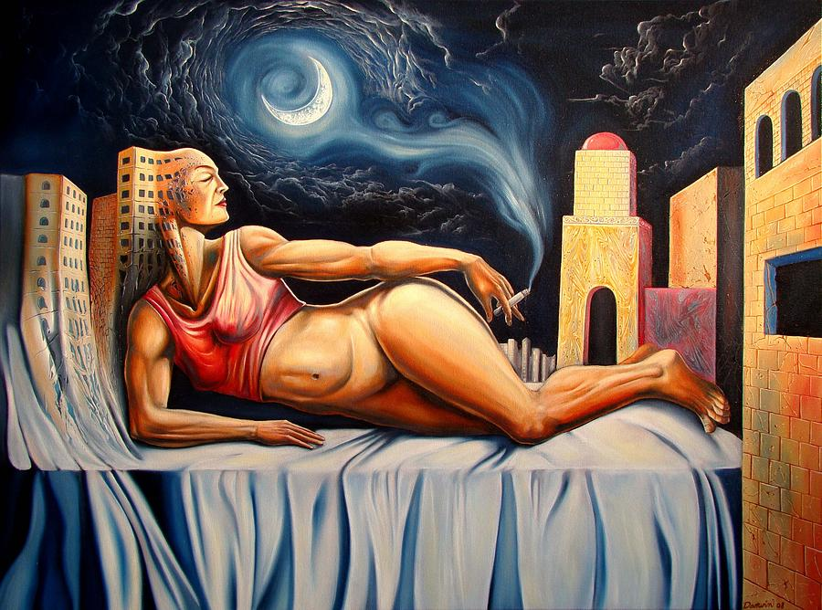 Surrealism Painting - The Night Muse by Darwin Leon