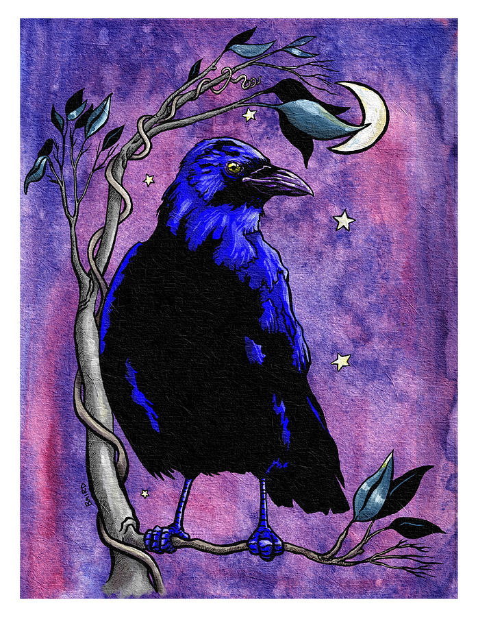 The Night Raven Painting by Baird Hoffmire